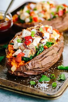 Stuffed Sweet Potato with Barbecue Chicken - Loaded with fresh kale, spinach, peppers and lean chicken for a simple and satisfying meal!  …