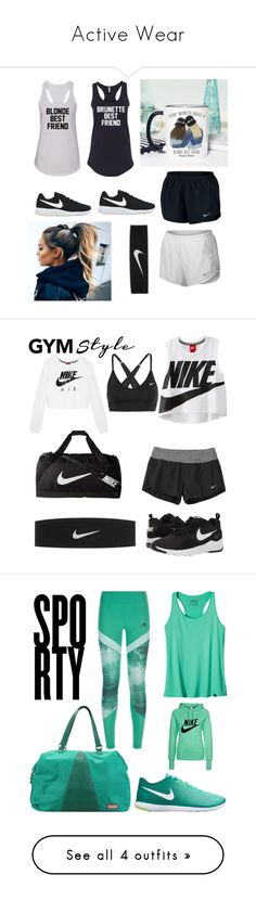 """""""Active Wear"""" by queencourtney16 ❤ liked on Polyvore featuring NIKE, fun, BFF, running, jogging, blondeandbrunette, contestentry, gymessentials, Patagonia and adidas"""