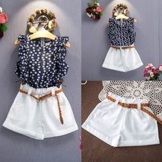 3PCS-Toddler-Kids-Baby-Girls-Chiffon-Floral-Shirt-Tops-Pants-Outfits-Clothes-Set
