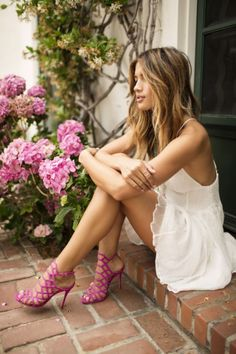 Rocky Barnes White And Pink Light And Bright Outfit Idea Poses, Rachel Barnes, White Spaghetti Strap Dress, Vogue, Summer Outfits, Summer Dresses, White Dress Summer, Dress Sandals, Heeled Sandals