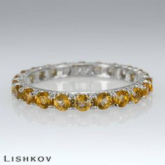 Eternity ring - Citrine ring - Promise ring - GemStone ring - Wedding band - 14k gold ring - Anniversary ring - Quartz ring - Bridal ring