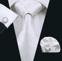 Men's Silk Coordinated Tie Set - White Paisley – Uylee's Boutique