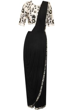 Black drape saree with off white floral embroidered blouse available only at Pernia's Pop Up Shop.