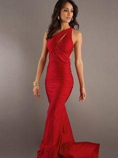 Robe de Soirée Longue Pas Cher A-ligne Longueur au sol Epaule asymétrique Rouge en Satin Elastique #FP258