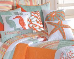 Because you just can't decide, here are all 5 pillows collected for the Fiesta Key quilt ensemble. Five pillows include: the Starfish Pillow, Coral Pillow, Seahorses Pillow, Urchin Pillow and Dancing with the Surf Pillow.