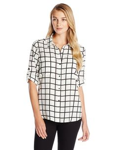 Calvin Klein Women's Windowpane Roll Sleeve, Birch/Black, X-Small