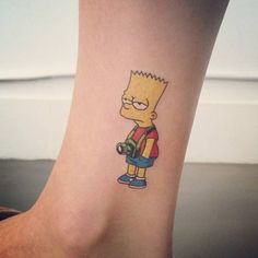 Bart Simpson tattoo on the ankle. Tattoo artist: Doy