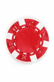 pic of poker chips - Red poker chip isolated on a white background - JPG