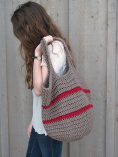 big crochet bag in taupe and cranberry by TheSecondFiddle on Etsy
