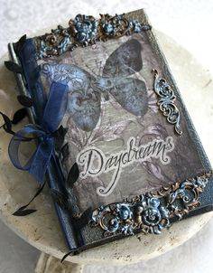 DAYDREAMS altered collage Victorian mini journal, poetry book or sketchbook, hardbound with antiqued embellishments