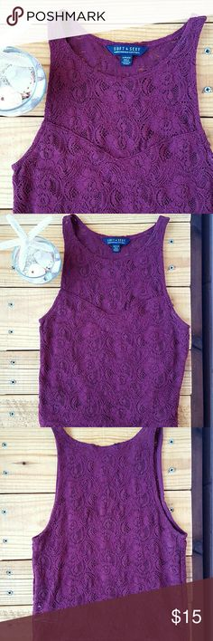 S MAROON AE LACE CROP TOP *maroon lace crop top *size small *adorable top perfect for a night out *euc - worn a handful of times *comes from a smoke-FREE & pet-FREE home American Eagle Outfitters Tops Crop Tops
