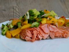Slow Roasted Salmon with Mango-Cucumber Salsa -- the healthiest and most delicious method for preparing wild salmon!