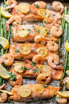 Simple recipe for baked salmon with shrimp and asparagus. The perfect family dinner recipe. Simple recipe for baked salmon with shrimp and asparagus. The perfect family dinner recipe. Baked Shrimp Recipes, Shrimp Recipes For Dinner, Fish Recipes, Seafood Recipes, Healthy Dinner Recipes, Best Salmon Recipe Baked, Quick Salmon Recipes, Baked Food, Healthy Food