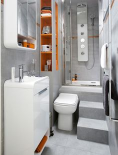 Teeny Tiny Bathroom furnished with Nano SENSEA, blanc blanc furniture from Leroy Merlin Tiny Bathrooms, Tiny House Bathroom, Compact Bathroom, Narrow Bathroom, Modern Bathroom, Tiny Spaces, Small Apartments, Casa Hipster, Ideas Baños