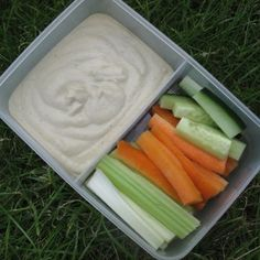 Flageolet hummus with crudite - 176 calories. Handy packed lunch recipe for 5:2 diet fast days