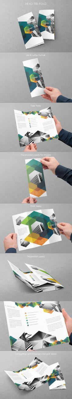 Modern Hexo Trifold. Download here: http://graphicriver.net/item/modern-hexo-trifold/5811088?ref=abradesign #design #trifold #brochure