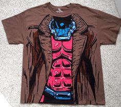 New MARVEL GAMBIT BODY COSTUME T-SHIRT Brown Comic Book Art Superhero x MENS XL #WeLoveFineMarvel #GraphicTee