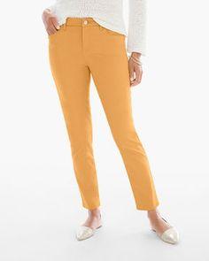 So Slimming Sateen Girlfriend Ankle Jeans in Golden Ochre