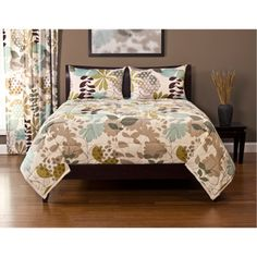 @Overstock - The soft natural colors make this quilted three-piece comforter set a welcome addition to your bedroom. The leaf-print set includes two pillow shams and one comforter made of 100 percent polyester and comes in your choice of either king or queen.http://www.overstock.com/Bedding-Bath/English-Garden-3-piece-Comforter-Set/7154689/product.html?CID=214117 $99.99