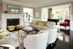 Grey, white, and yellow-- this is the only place i would use our new yellow leather-- on corbin ottomans