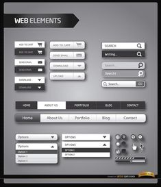 Fresh and modern elements of a website menu in simple black and white. It contains horizontal menu for different sections, buttons for sending email, downloading, uploading, buying, and more; there are also level bars cursors, zoom buttons, etc. High quality JPG included. Under Commons 4.0. Attribution License.