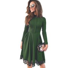 6a8b3173a9 High Collar Women Autumn Dress Fashion Black Lace Green Dresses Long Sleeve Vintage  Women Party Dresses Elegant 2016
