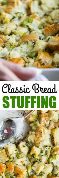 An easy Bread Stuffing made with all the classic flavors. Baked outside the bird but still buttery and moist, this recipe tastes just like Mom used to make!