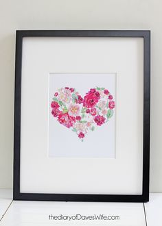 **Free Print **Floral Watercolor Heart  by DavesWife