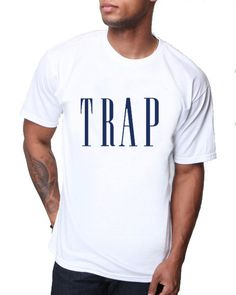 White TRAP Tee For Men Cotton Blend Available In by PrintMasterNYC