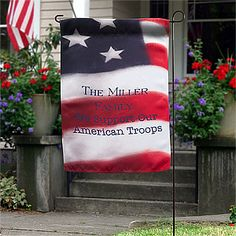 "This American Flag Personalized Garden Flag is awesome! What a great idea for Military families! You can personalize it with your family name, ""Support the troops,"" your address ... anything you want! It's only $19.95 from PersonalizationMall!"