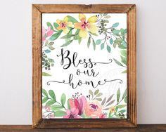 Bless Our Home Print, Bless Our Home Sign, Bless This Home, Housewarming Gift, New Home Gift, Bless Our Nest, Home Decor, Printable Wall Art by AdornMyWall on Etsy