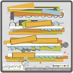 All Stacked Up Paper Snippets Volume 1 PU/CU - Layered Templates - by Captivated Visions at ScrapOrchard $3.49