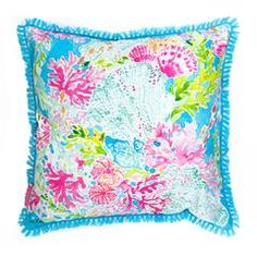 Lilly Pulitzer Large Pillow, Coral Cay