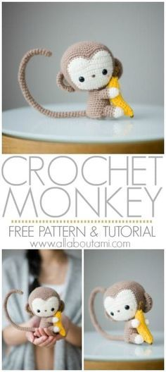 Crochet your own adorable amigurumi baby monkey with this free crochet pattern & step-by-step tutorial! He has a poseable tail and is clutching a small banana! Pattern: Monkey - All About Ami Cydney Fowler cydneycreations Amigurumi Crochet your own Crochet Amigurumi Free Patterns, Crochet Animal Patterns, Stuffed Animal Patterns, Crochet Dolls, Amigurumi Tutorial, Crochet Monkey Pattern, Knitting Patterns, Crochet Animal Amigurumi, Crochet Baby Toys