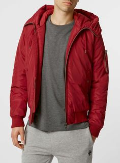 Photo 1 of Red Padded Bomber Jacket With Hood