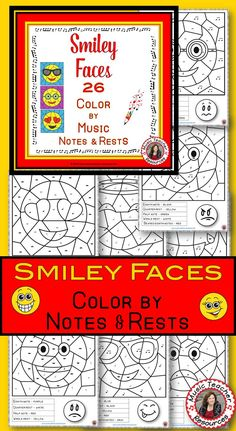 Music sub plans composer facts word searches new music ideas music lessons 26 smiley face music coloring worksheets color by notes and rests ibookread