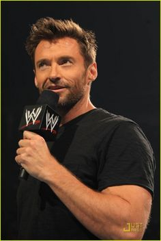 Hugh Jackman-The Wolverine at a WWE wrestling.That's funny!