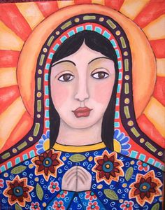 Mexican Folk Art Lady of Guadalupe Blue Dress Original Painting Jazzi | eBay