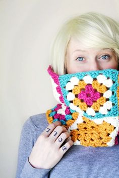 Color Block Granny Square Crochet Cowl Scarf - Pink Flambe Olympian Blue Bright Candy Color Mix - One Of A Kind