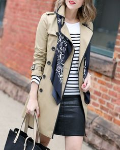 Trench Coat Outfit For Spring - FashionActivation Trench Coat Outfit, Trench Coat Style, Short Trench Coat, Ways To Wear A Scarf, How To Wear Scarves, Work Fashion, Trendy Fashion, Fashion Outfits, Emo Outfits