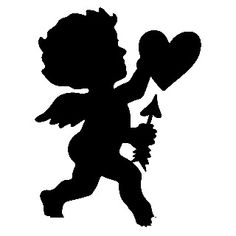 Black silhouette- cute for vintage valentine cards