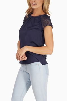 Navy-Blue-Crochet-Sleeve-Blouse #outfitinspiration #fallclothes