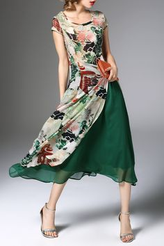 High Slit Flower Print Midi Dress with Skirt Click on picture to purchase!