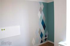 dieartigeBLOG, Raumgestaltung, Wandgestaltung, Rauten in Blau- und Grautönen