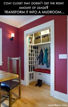 16 Clever DIY Home Ideas | Closet into a mudd room