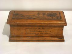 "1838 Canadian Prisoner's box from the Upper Canada Rebellion at the Royal Ontario Museum, Toronto - From the curators' comments: ""The inscription reads: ""Presented to Mrs. Wm. Carrol by John Anderson when a state prisoner at Fort Henry, 1838"" and ""In Memory of Lount and Matthews executed at Toronto 12th of April, 1838 Time will tell why."""""