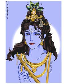 Lord Shiva Painting, Krishna Painting, Radha Krishna Pictures, Lord Krishna Images, Cute Krishna, Krishna Art, Krishna Tattoo, Hare Krishna Mantra, Krishna Flute