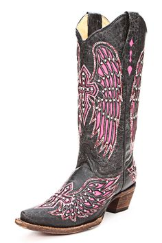 #Graduation Boots from Corral - Black/Pink Wing and Cross Cowgirl Boots. On sale! Buy now!