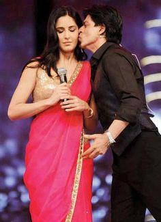 Katrina Kaif getting a kiss from Shahrukh