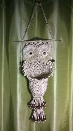 Owl basket made from pattern on www.free-macrame-patterns.com
